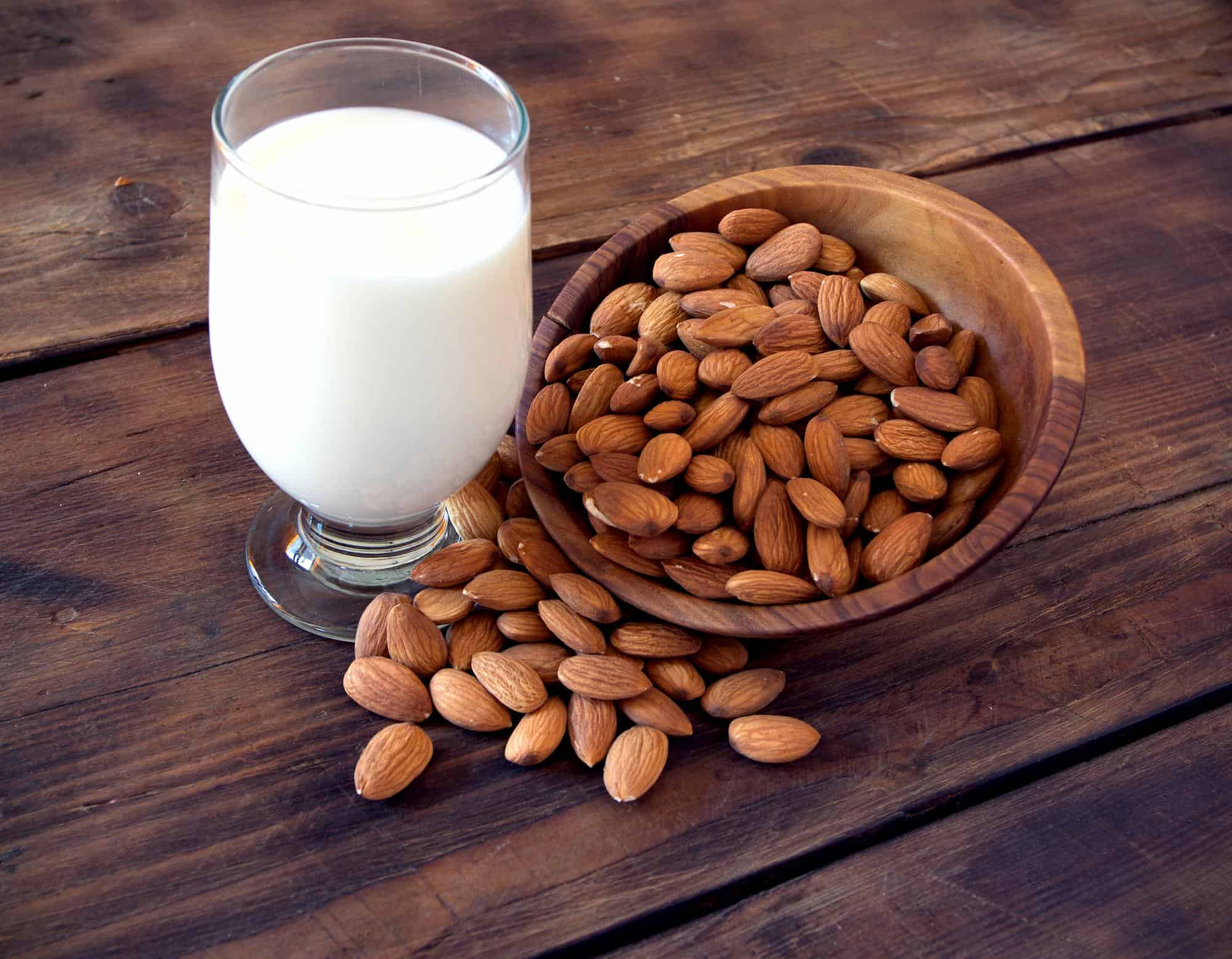 Almond milk in a cup