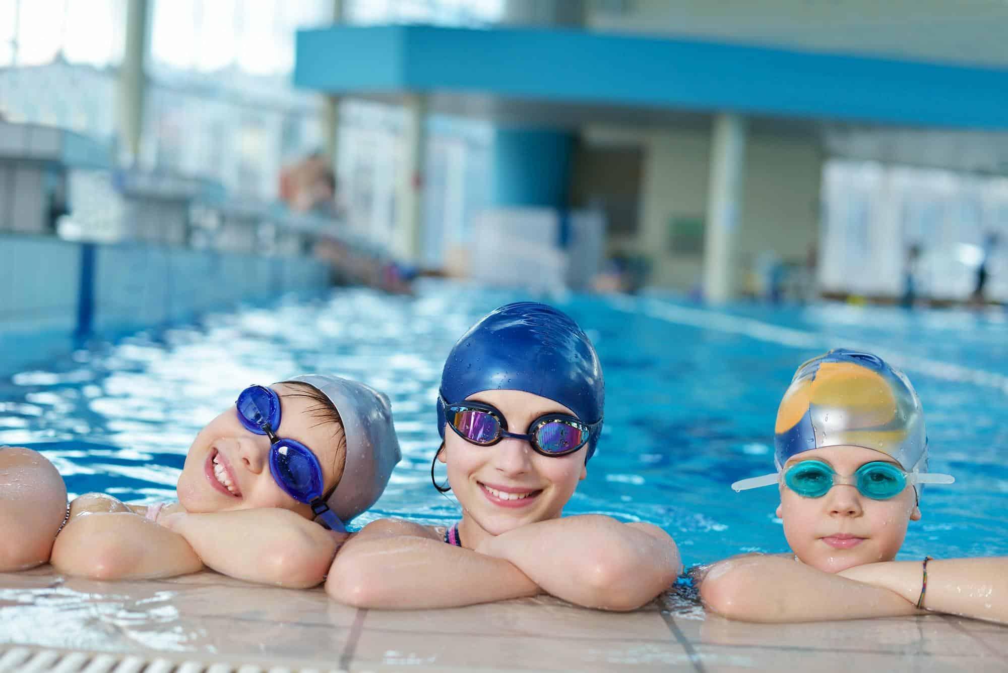 Kids with swim goggles