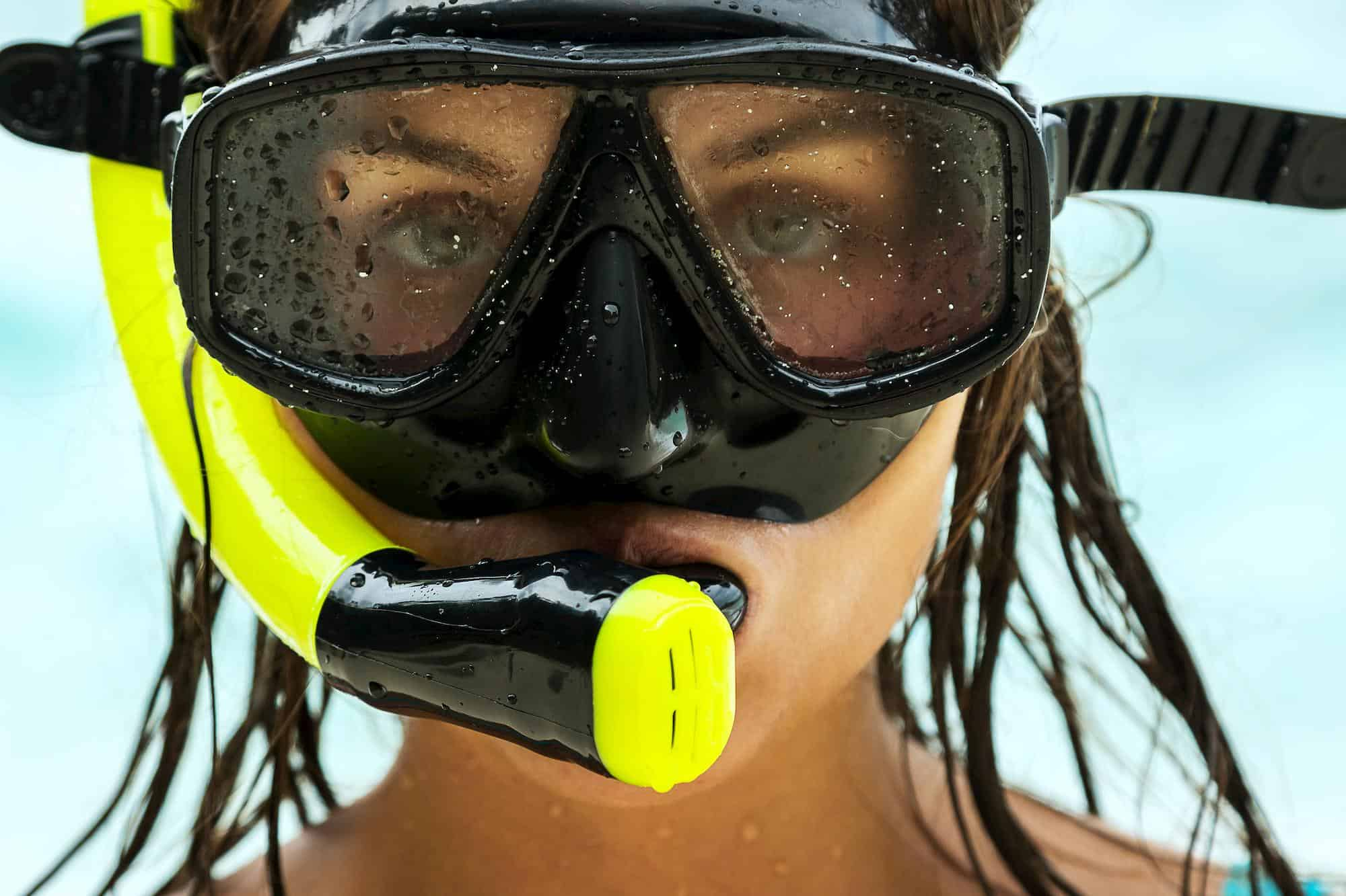 Woman with a snorkel mask