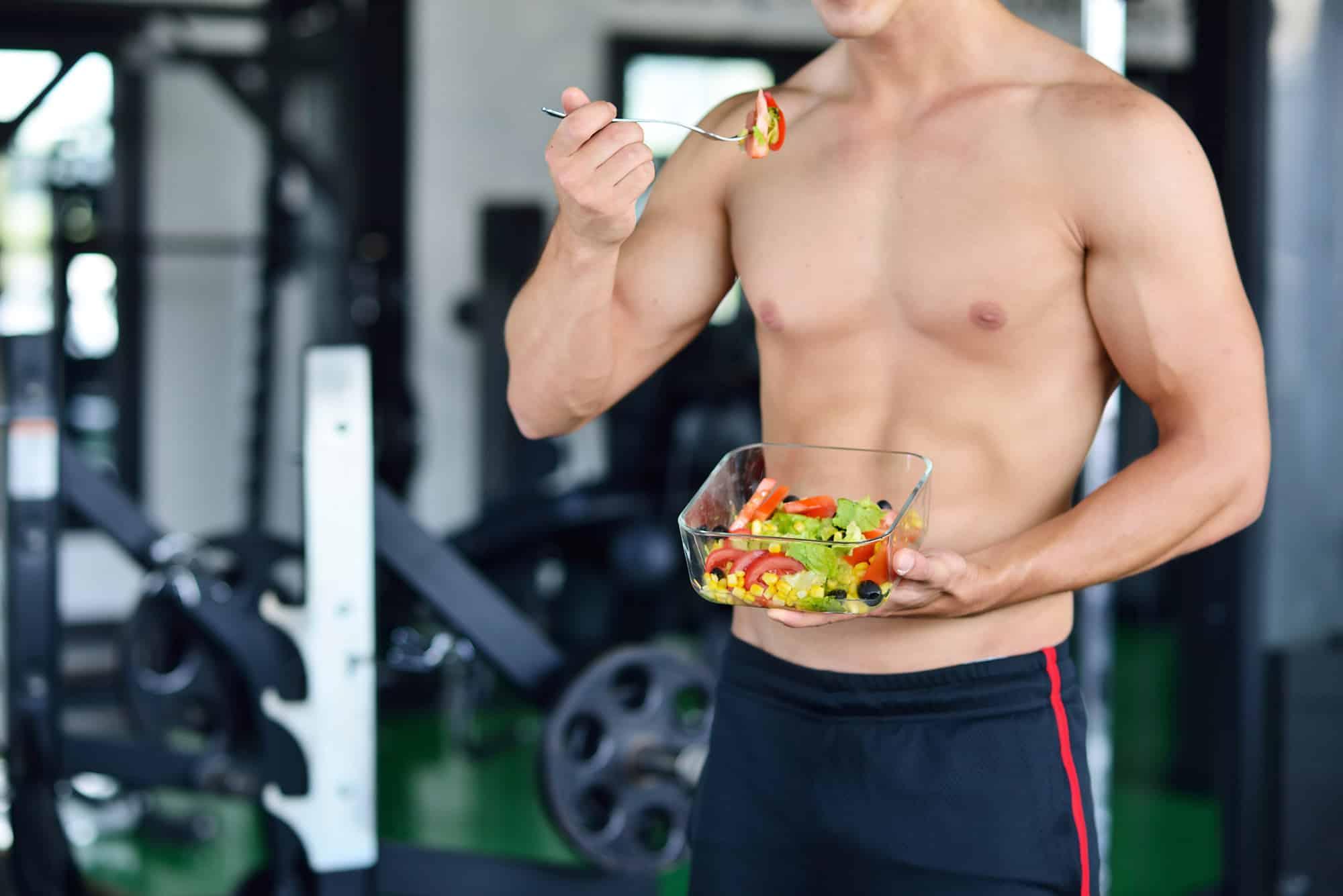 Eating Salad at Gym
